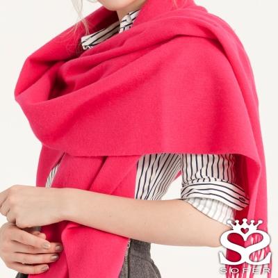 SOFER 簡約素色100%純羊毛保暖披肩/圍巾 - 甜玫紅