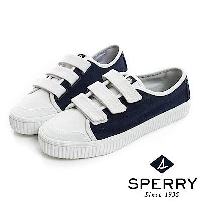 SPERRY 韓版粉嫩俏皮撞色黏扣帶帆布休閒鞋(女)-白/深藍
