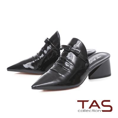 TAS蝴蝶結抓皺尖頭粗跟穆勒鞋-時尚黑