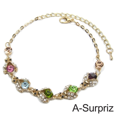 A-Surpriz 繽紛五彩晶鑽小瓢蟲手鍊