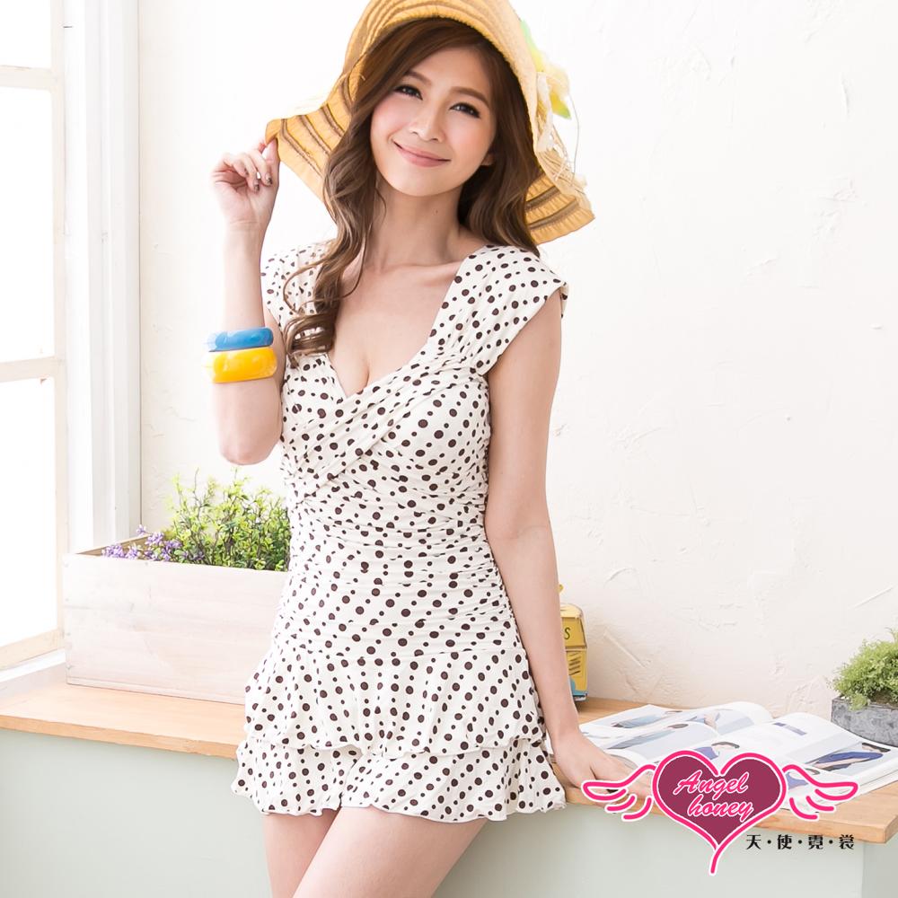 天使霓裳 沁涼豔夏 一件式連身泳衣(白M~XL)
