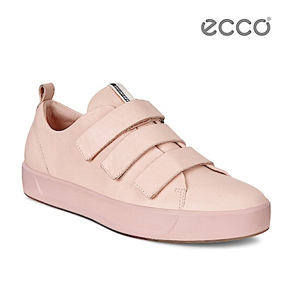 ECCO SOFT 8 LADIES 簡約魔鬼氈休閒鞋-粉