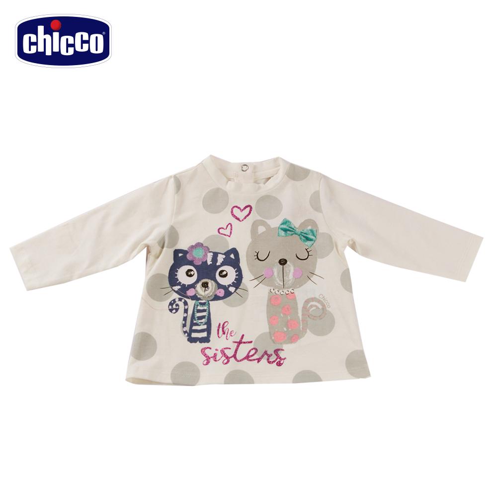 chicco圓點貓咪長袖上衣-米(12-24個月)