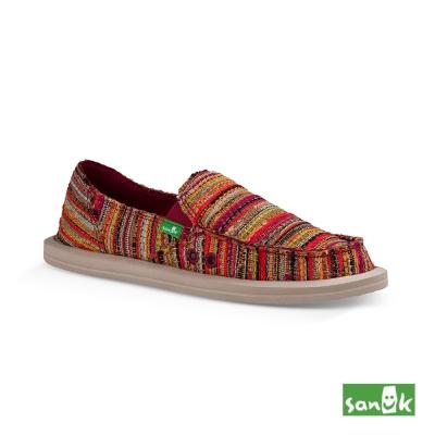 SANUK 民俗針織懶人鞋-女款(紅黃色)