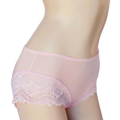 內褲 100%蠶絲蕾絲平口內褲2件組M-XL(粉紅) Seraphic