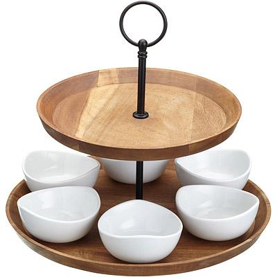 Master-雙層點心盤-六瓷碗