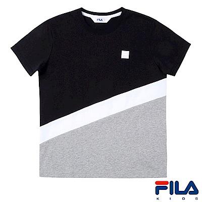 FILA KIDS #東京企劃 剪接圓領T恤-黑1TES-4454-BK