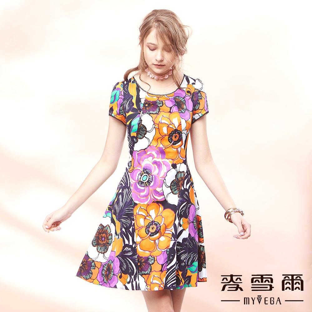 麥雪爾 純棉收腰立體剪裁繪印花洋裝