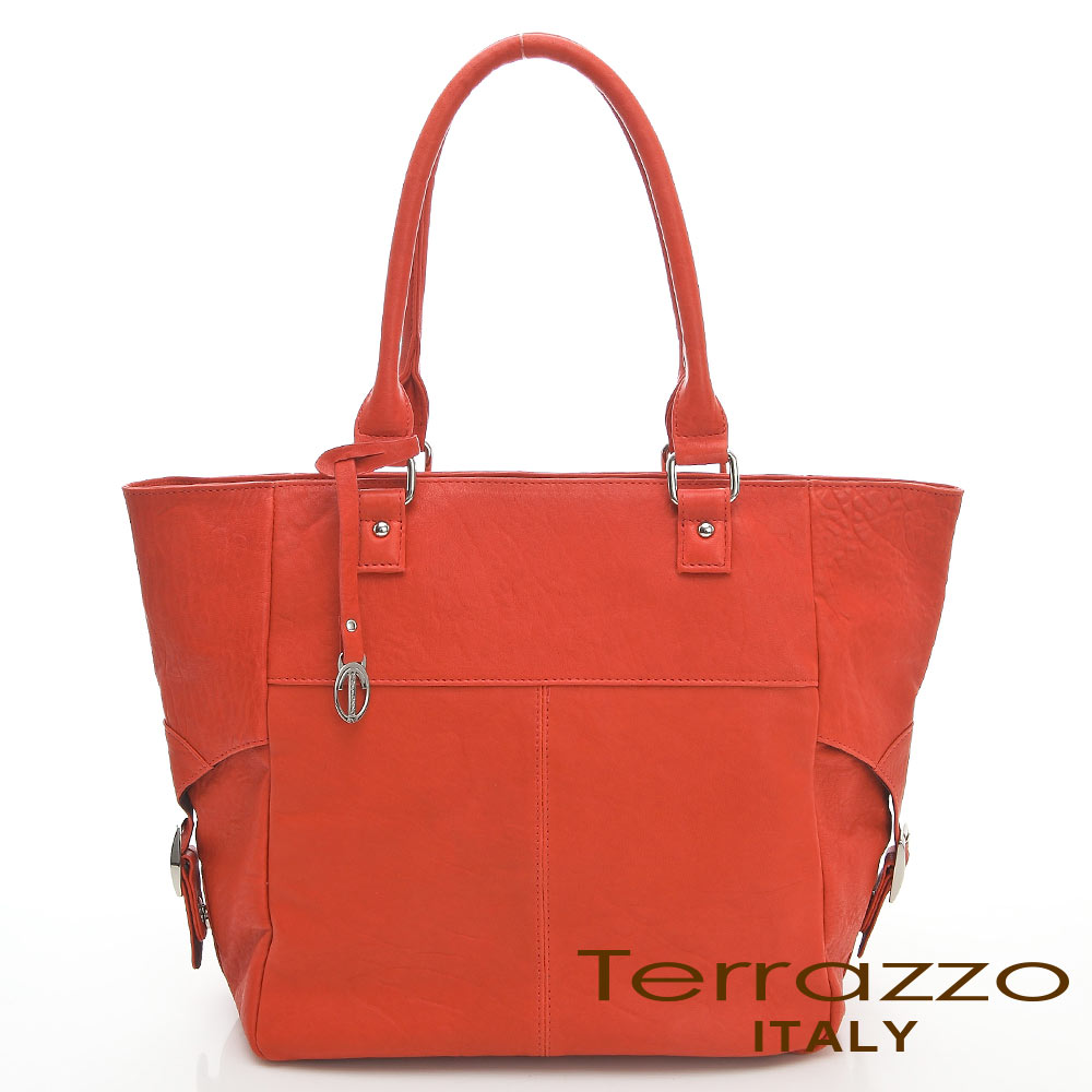 義大利Terrazzo-水洗羊皮簡約tote包-橙色23I4479A