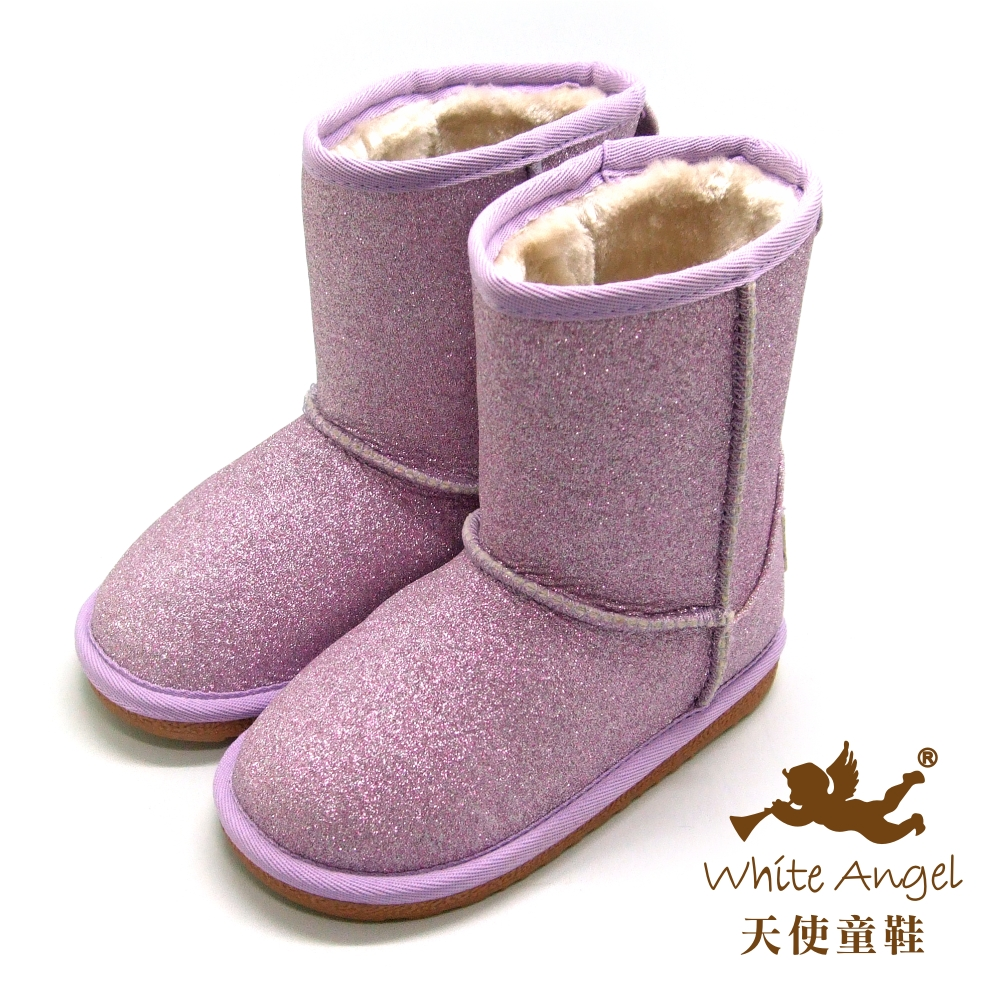 天使童鞋-B326N 微閃冰晶暖暖靴 (中-大童)-粉亮紫