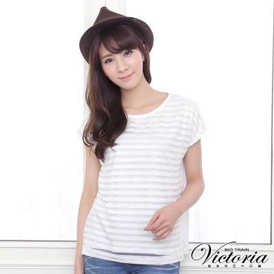 Victoria 露空條紋落肩短袖T-女-白