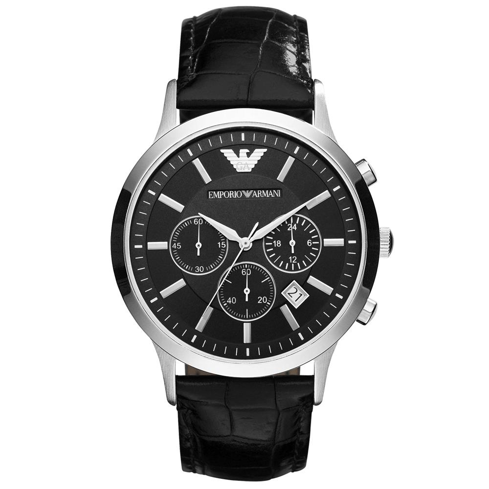 EMPORIO ARMANI 超型任務三眼計時腕錶-AR2447/44mm