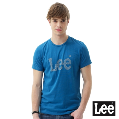 Lee 短袖T恤 膠印點點圓領 男 藍