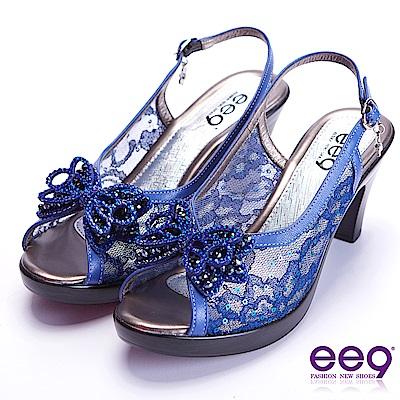 ee9 驚豔美人異材質交錯鑲鑽蝴蝶結魚口粗跟涼鞋 藍色