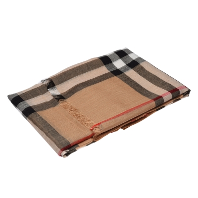 BURBERRY 經典戰馬格紋羊毛混絲披肩/圍巾(220cm-咖啡)