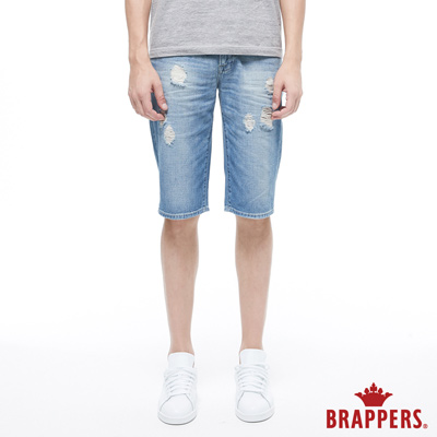 BRAPPERS 男款 HM-中腰系列-全棉修身五分短褲-藍