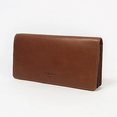 CALTAN-長夾 對折式 女夾 女包 真皮 牛皮 鈔票夾 輕薄設計-071822cd