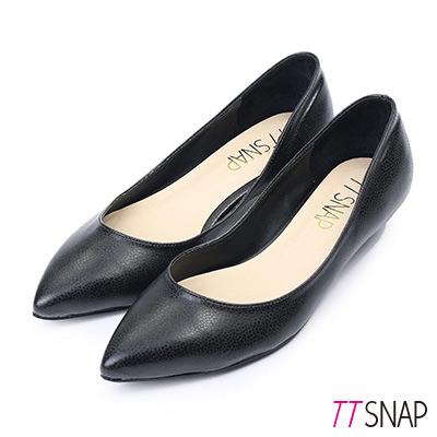 TTSNAP尖頭鞋-MIT細緻小蜥蜴紋真皮低跟鞋 黑