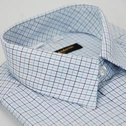 【金安德森】深淺藍格紋長袖襯衫