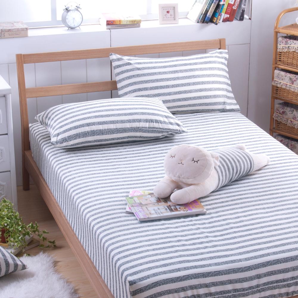 日本濱川佐櫻-慢活.灰 活性無印風單人二件式床包組
