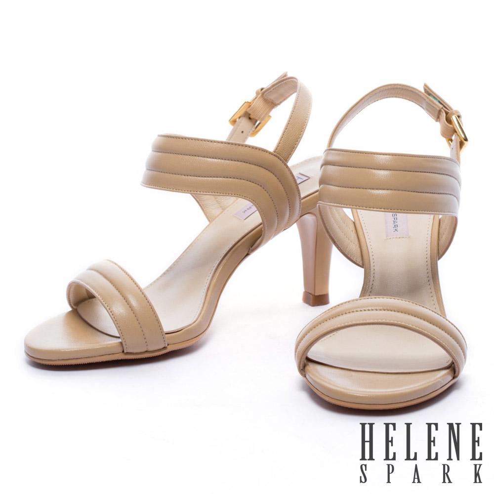 涼鞋 HELENE SPARK 知性風一字羊皮高跟涼鞋-米