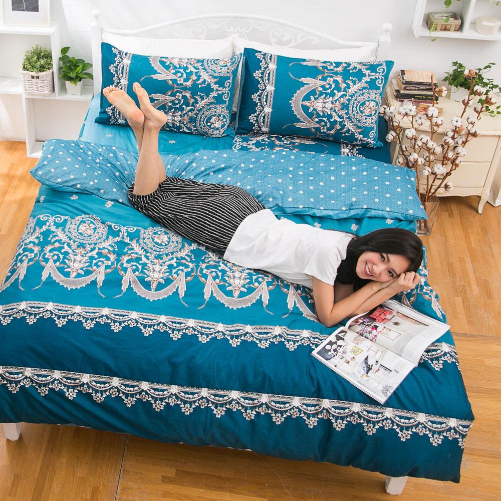 eyah宜雅 台灣製100%頂級精梳棉新式兩用被單人床包被套四件組 法國洛可可的浪漫-藍