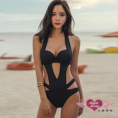 泳衣 流線魅力 素色鋼圈一件式連身泳裝(黑M~XL) AngelHoney天使霓裳