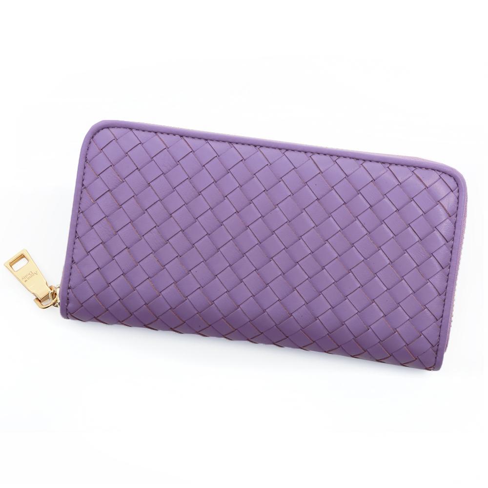 ANNA DOLLY 編織羊皮拉鍊長夾 Leather系列 黛粉紫