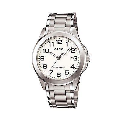 CASIO 時尚成熟型男數字腕錶(MTP-1215A-7B2)-白/37mm