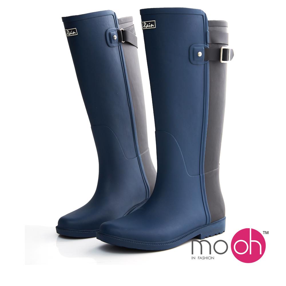 mo.oh愛雨天-皮帶扣拚色長筒雨鞋雨靴-黑藍