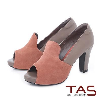 TAS 雙色異材質拼接魚口高跟鞋-豆沙粉