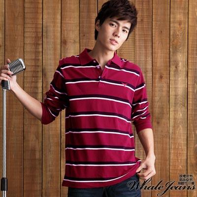 WHALE JEANS 男款雙色橫條紋魚尾繡純棉長袖POLO衫(2色)