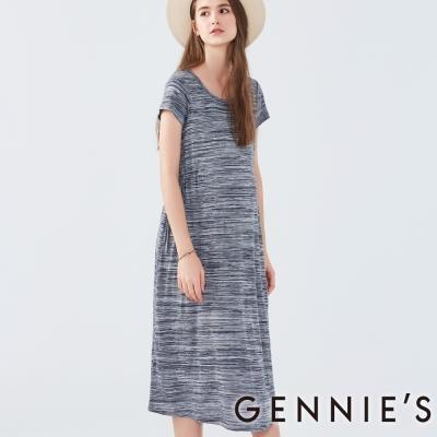 Gennies奇妮-短袖腰間綁帶長洋-(C1D27-藍)