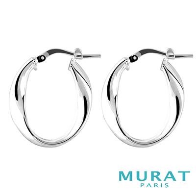 MURAT Paris米哈巴黎 簡約交錯曲線耳環