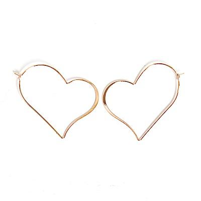 微醺禮物 正韓 鍍K金針 愛心圈圈耳環 金 玫瑰金 兩色可選 耳針 耳環