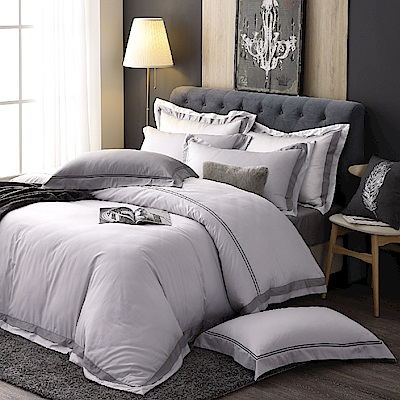 OLIVIA  極簡純色 灰  加大雙人兩用被套床包四件組   300織長絨棉