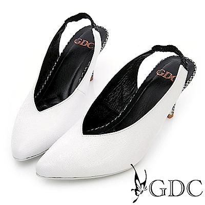GDC~ 羊皮氣質格紋懶人跟鞋~白色
