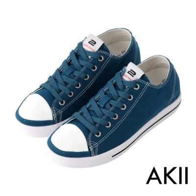 AKII韓國空運‧經典復古百搭男款內增高帆布鞋-藍