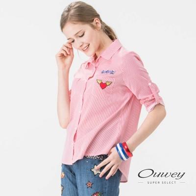 OUWEY歐薇 甜美朝氣刺繡條紋上衣(紅)