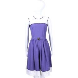 CLASS roberto cavalli 紫白色洞洞蕾絲拼接無袖洋裝(附腰帶)