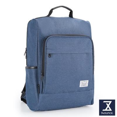 74盎司 簡約拉鍊口袋後背包(15吋)[TG-198]深藍