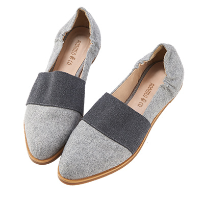 Robinlo&Co. 休閒牛仔拼色懶人平底鞋 灰