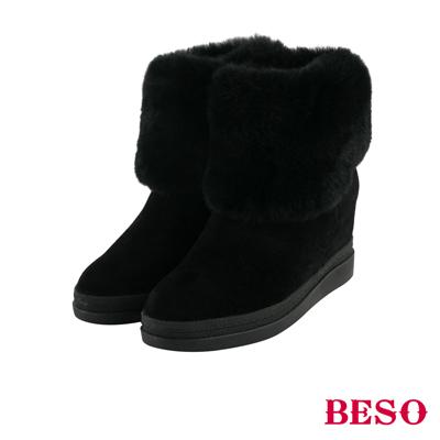 BESO 柔情甜美 質感兔毛內拉鏈內增高靴~黑
