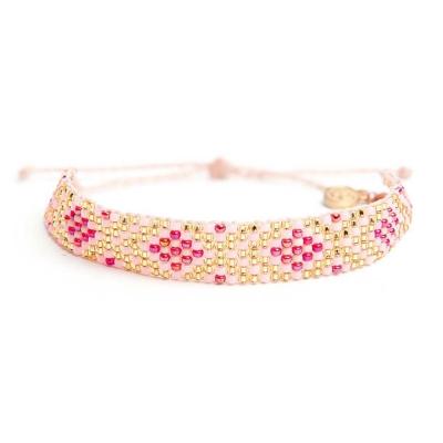 Pura Vida DESERT SPARKLE 桃粉金色小彩珠寬版編織 可調式手環