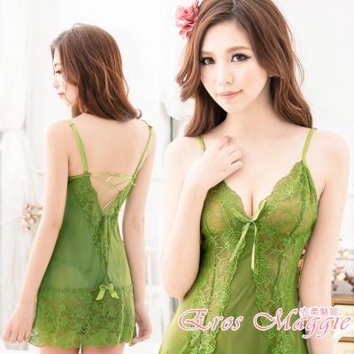 性感睡衣 深V蕾絲美背綁帶連身睡衣 EM衣柔魅姬(橄欖綠)