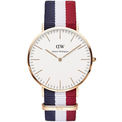 DW Daniel Wellington Cambridge經典學院尼龍腕錶-白/40mm