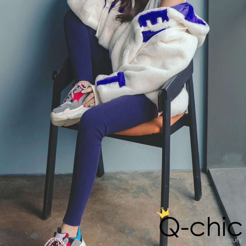 正韓 純色彈性棉質內搭褲 (共四色)-Q-chic