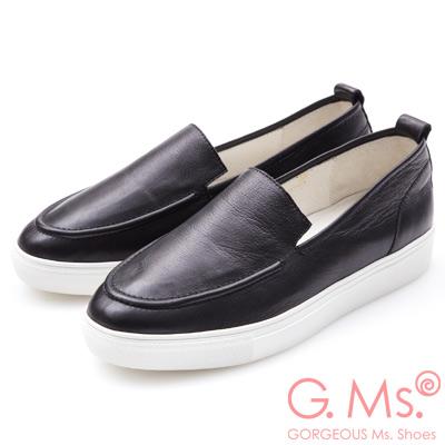 G.Ms. 牛皮無印風莫卡辛厚底懶人休閒鞋-黑色
