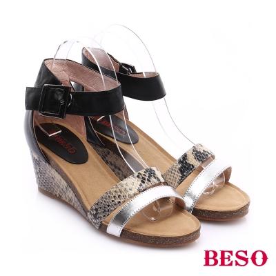 BESO-時尚核心-真皮釦飾雙色拼接動物紋楔型鞋