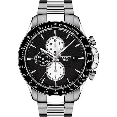 TISSOT天梭 V8系列三眼計時機械錶-黑x銀/45mm